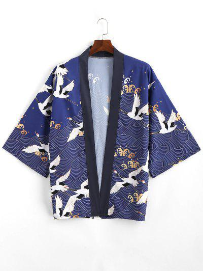 Flying Crane Sea Waves Print Open Front Kimono Cardigan - Lapis Blue M