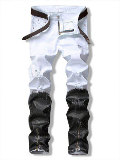 Long Color Block Ankle-Zip Ripped Jeans - White 38