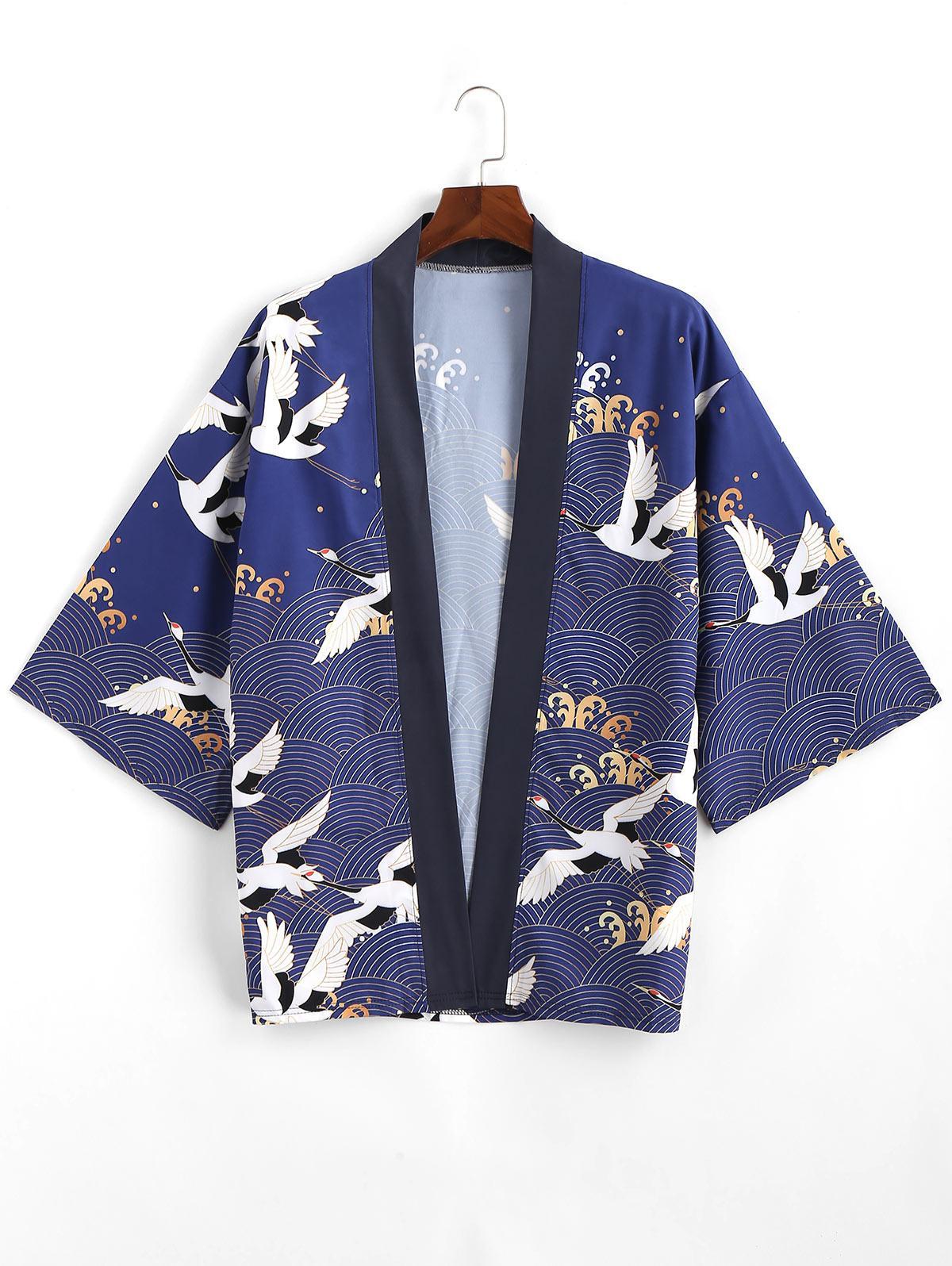 Flying Crane Sea Waves Print Open Front Kimono Cardigan фото