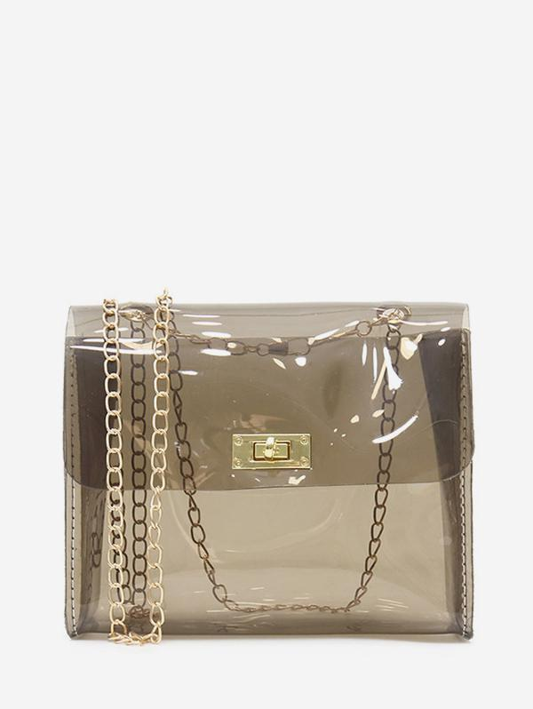 Solid Transparent Square Chain Crossbody Bag, Carbon gray