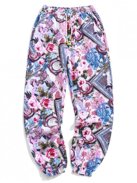 Pantaloni casuali del pareggiatore della stampa della pittura di paesaggio del fiore delle donne tribali - Torta Rosa XS