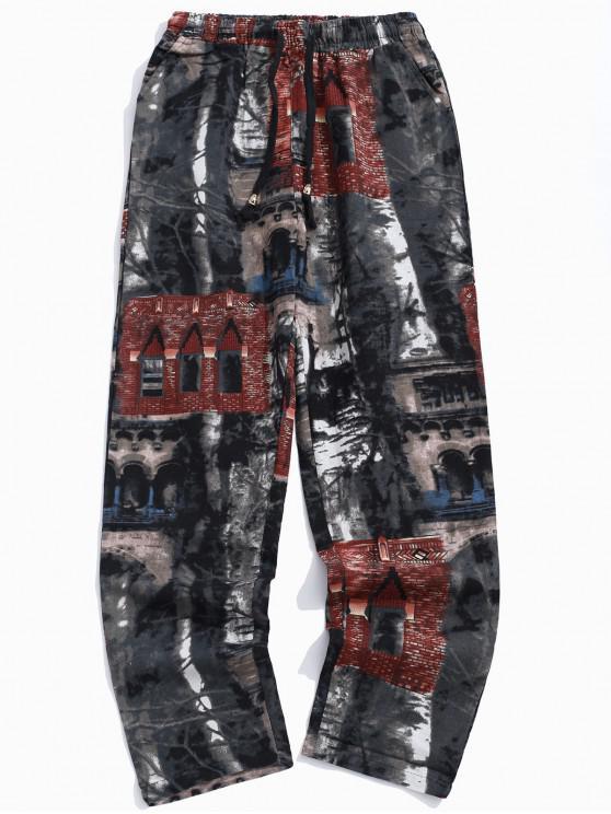 Pantaloni lunghi del coulisse della stampa della costruzione del muro di mattoni vecchi - Grigio Fumante XS