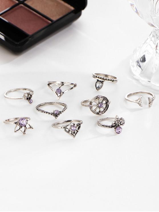 Set di anelli di strass con foglia a coda di rondine vintage 9 pezzi - Ametista Porpora