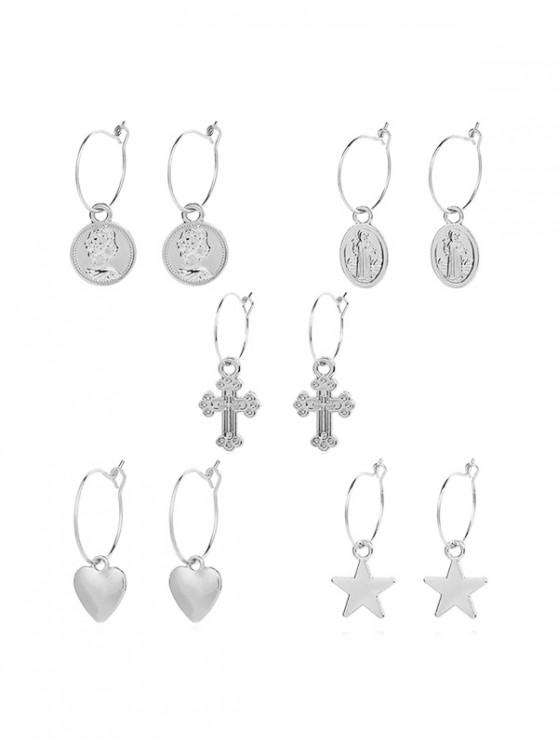 best Geometric Star Heart Cross Design Metal Drop Earrings Set - SILVER