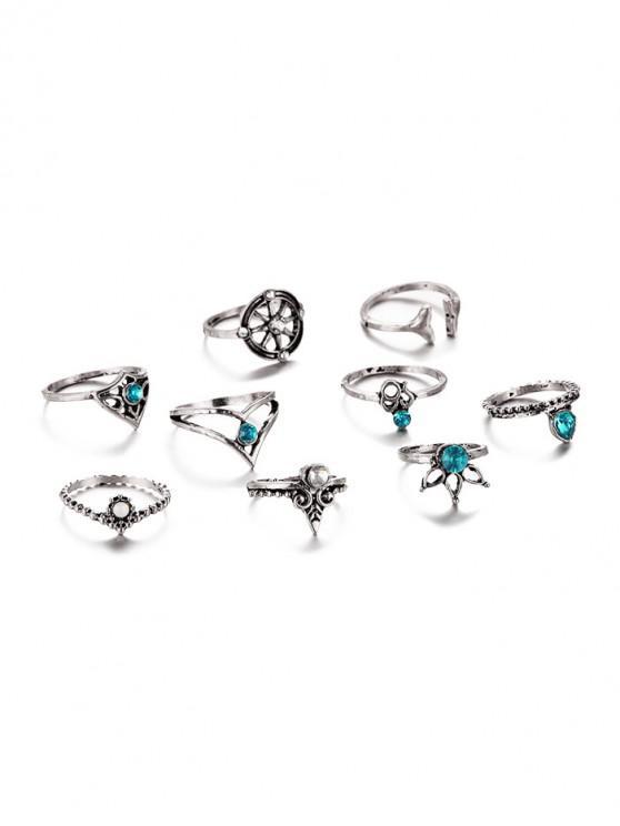 Set di anelli di strass con foglia a coda di rondine vintage 9 pezzi - Turchese Nera