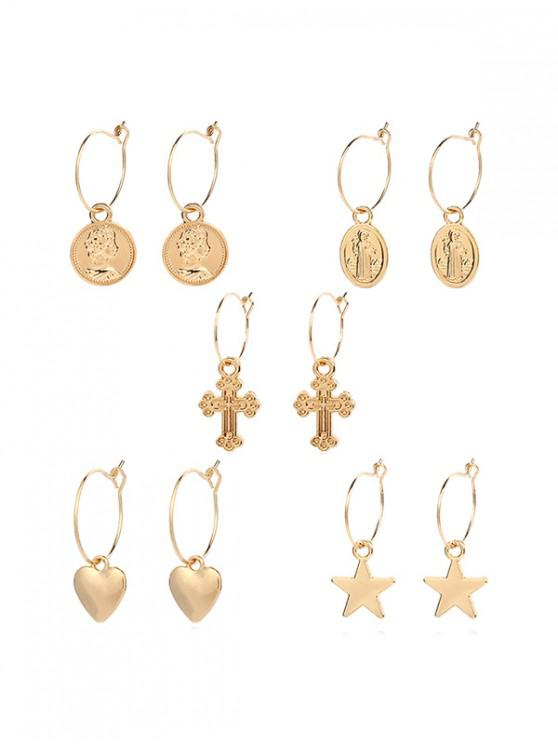 fancy Geometric Star Heart Cross Design Metal Drop Earrings Set - GOLD