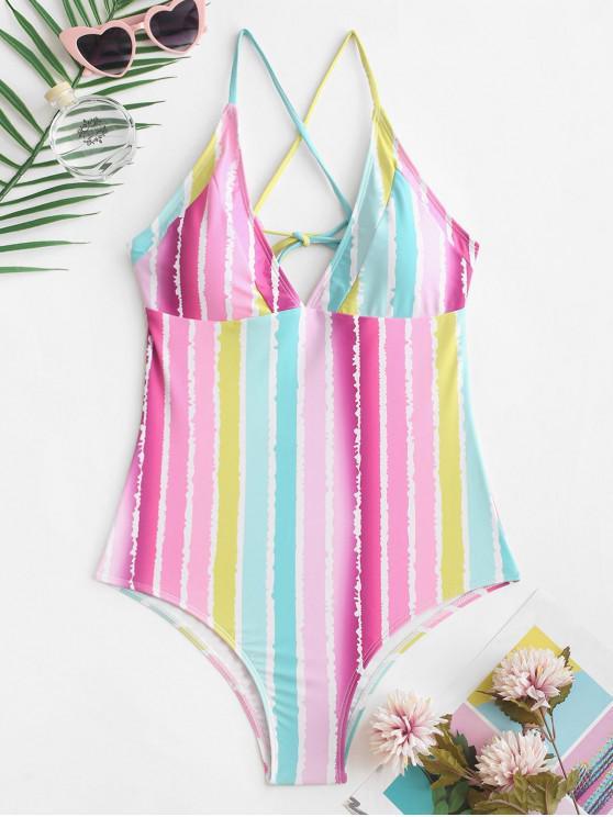 ladies ZAFUL Crisscross Rainbow Striped One-piece Swimsuit - MULTI-A M