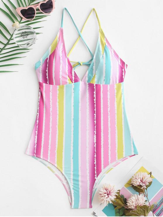 outfit ZAFUL Crisscross Rainbow Striped One-piece Swimsuit - MULTI-A XL