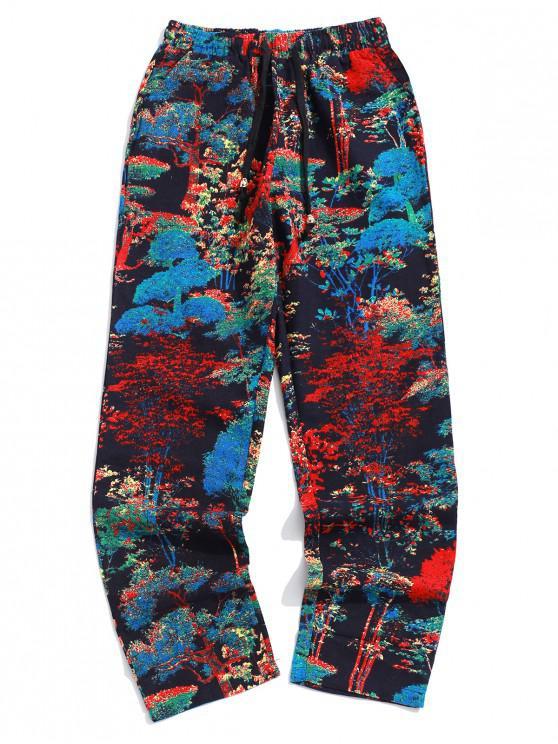 Pantaloni lunghi tascabili con stampa posteriore colorata albero - Multi Colori-C XL