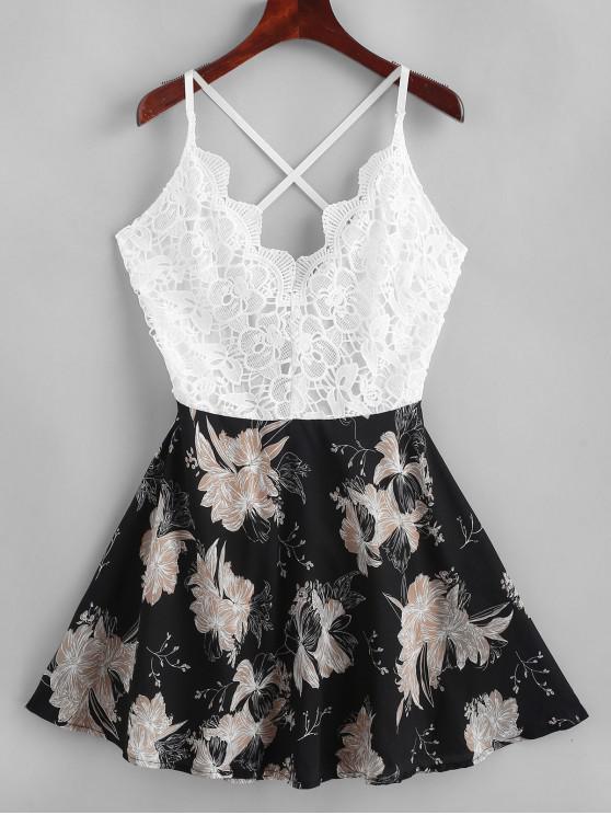 花卉印花鉤針編織面料打結Cami連衣裙 - 多-B XL