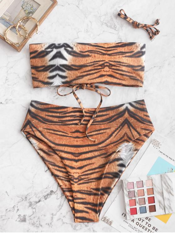 chic ZAFUL Tiger Print Bandeau High Waisted Bikini Swimsuit - TIGER ORANGE L