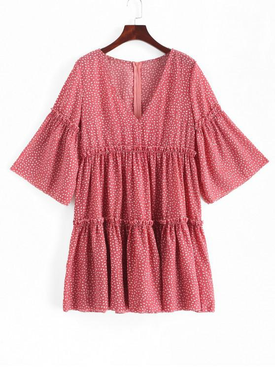outfit Water Drop Print Flare Sleeve Plunge Neck Dress - RED L