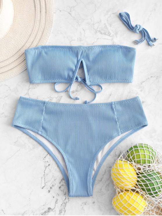 online ZAFUL Textured Ribbed V-notch Bandeau Bikini Swimsuit - DAY SKY BLUE M