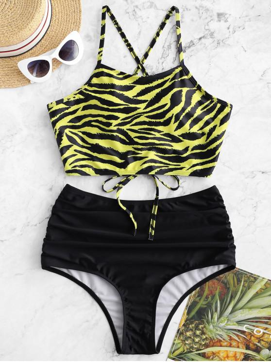 affordable ZAFUL Tiger Print Lace Up Tummy Control Tankini Swimsuit - MULTI-A S