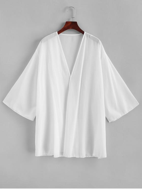 fashion Semi Sheer Chiffon Kimono Cover-up - WHITE S