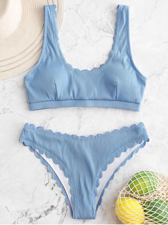 unique ZAFUL Scalloped Textured Ribbed Bikini Swimsuit - DENIM BLUE S