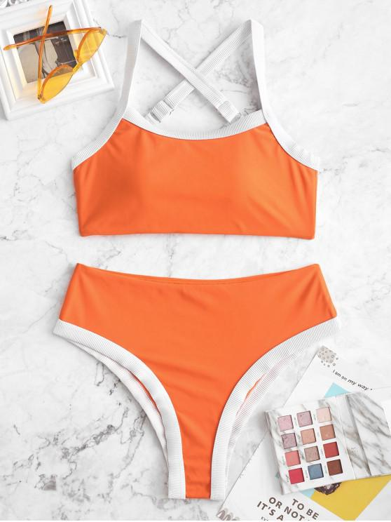 new ZAFUL Contrast Ribbed Piping Crisscross High Waisted Bikini Swimsuit - PAPAYA ORANGE M
