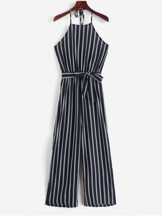 buy Halter Striped Print Belted Wide Leg Jumpsuit - MULTI-A M