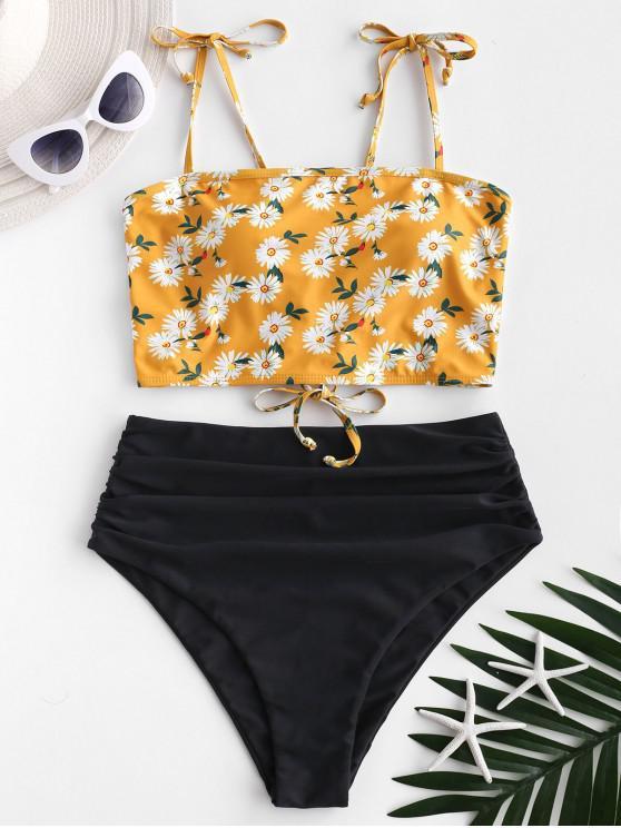 unique ZAFUL Daisy Print Lace Up Tummy Control Tankini Swimwear - MULTI-A S