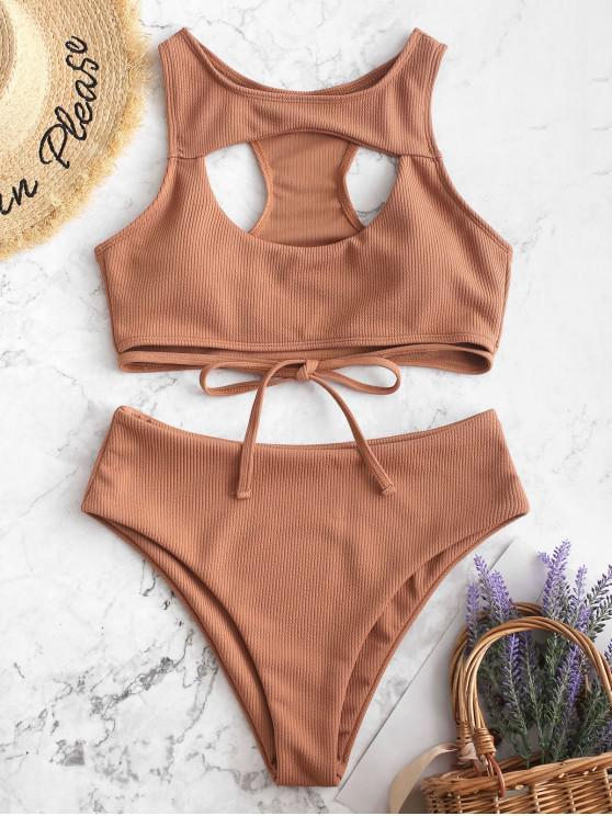 hot ZAFUL Ribbed Cutout Racerback Tankini Swimsuit - BROWN SUGAR L