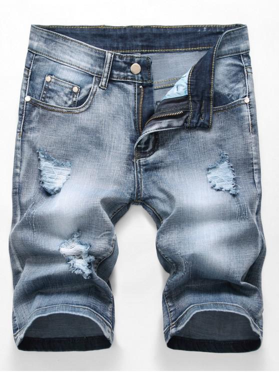 Distruggi pantaloncini di jeans casual con lavaggio Scratch - Blu Denim 36