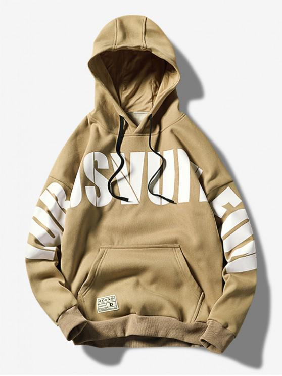 new Letter Graphic Print Kangaroo Pocket Casual Hoodie - KHAKI L