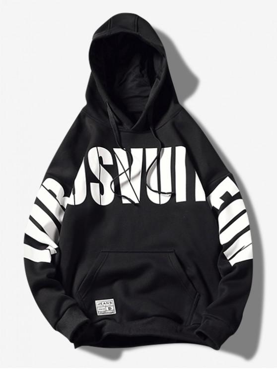 outfit Letter Graphic Print Kangaroo Pocket Casual Hoodie - BLACK 2XL