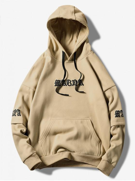 hot Letter Graphic Wave Print Faux Twinset Kangaroo Pocket Hoodie - KHAKI S