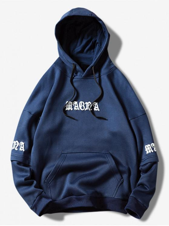 best Letter Graphic Wave Print Faux Twinset Kangaroo Pocket Hoodie - DEEP BLUE L
