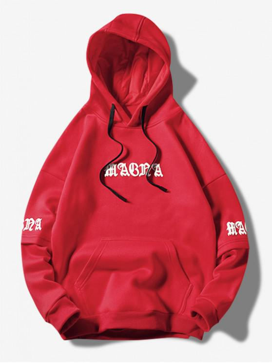 chic Letter Graphic Wave Print Faux Twinset Kangaroo Pocket Hoodie - RED M