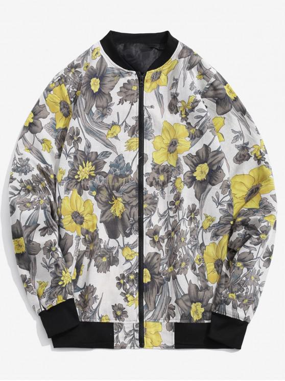 outfit Flower Print Spliced Zipper Tribal Casual Jacket - WHITE L
