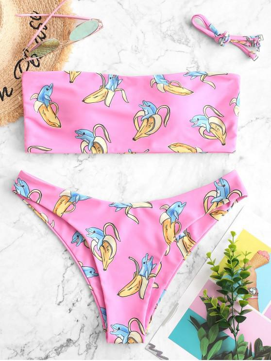 ZAFUL Maillot de Bain Bikini Bandeau Banane et Dauphin Imprimés - Rose Vif S