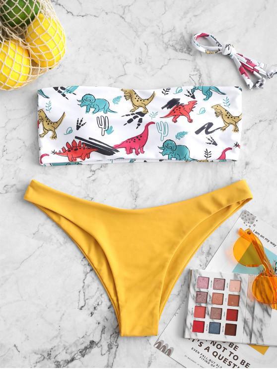 chic ZAFUL Dinosaur Print Side Boning Bandeau Bikini Swimsuit - ORANGE GOLD L
