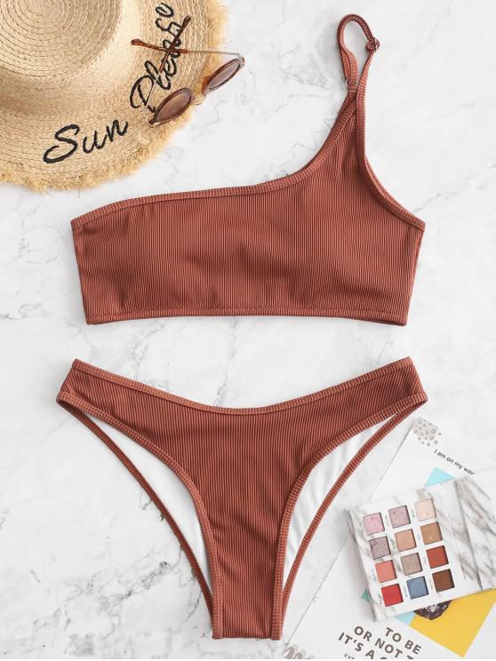 ladies ZAFUL Textured Ribbed One Shoulder Bikini Swimsuit - CHESTNUT S
