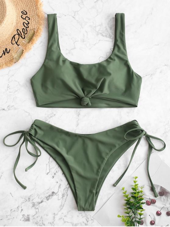shop ZAFUL Knot Side Cinched Bikini Swimsuit - HAZEL GREEN L