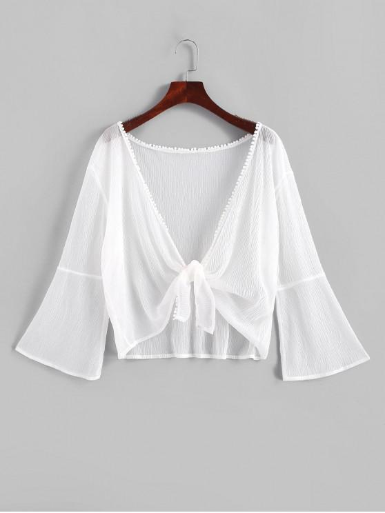 trendy Pom-pom Crinkly Sheer Cover-up - WHITE ONE SIZE