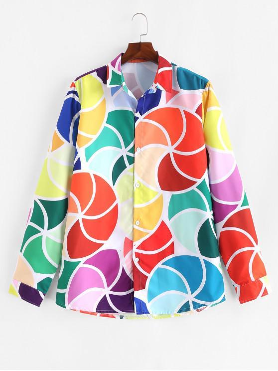 ladies Color Block Geometric Print Curved Hem Casual Shirt - MULTI-D 2XL