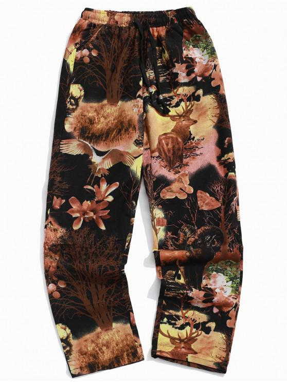 buy Grassland Animal Flower Plant Scenery Painting Print Long Casual Pants - BLACK XL