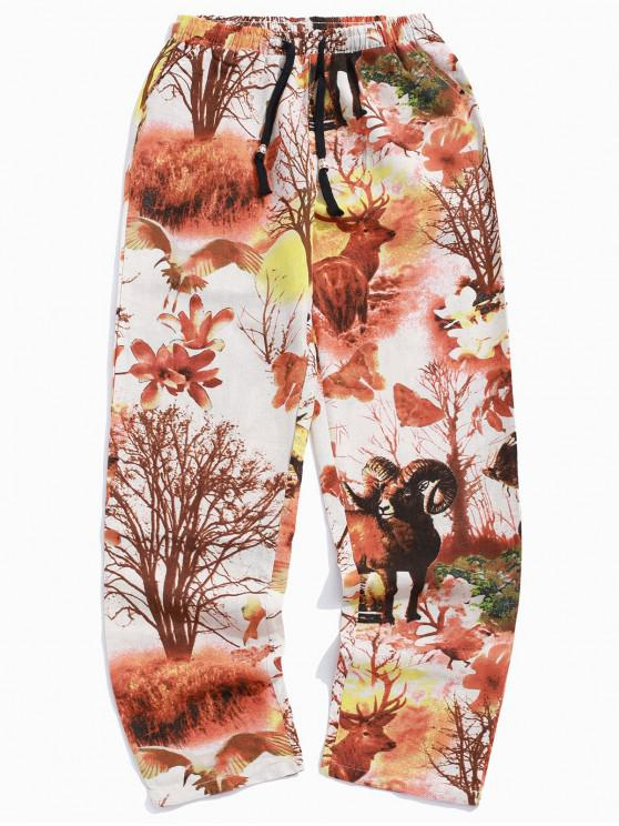 affordable Grassland Animal Flower Plant Scenery Painting Print Long Casual Pants - BEIGE 2XL