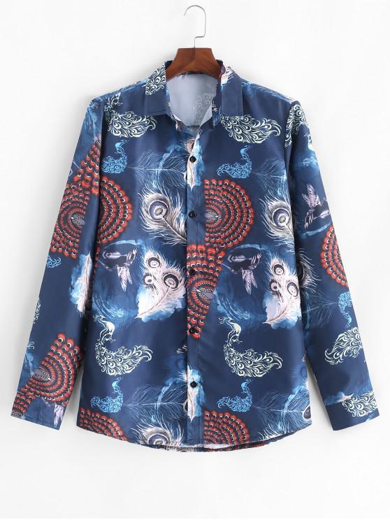 lady Phoenix Peacock Feather Print Long Sleeve Button Shirt - DEEP BLUE 3XL
