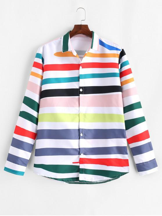 hot Long Sleeve Colored Striped Print Button Shirt - PINK M