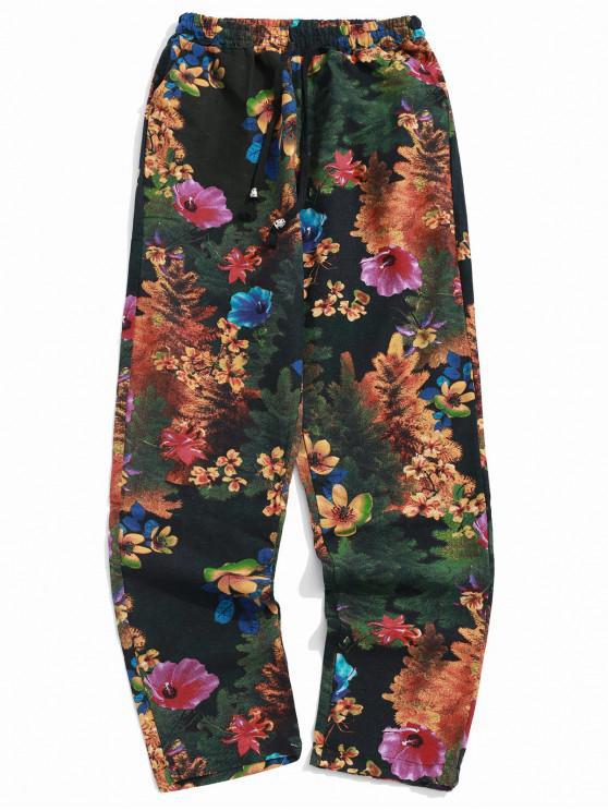 online Flower Allover Print Long Casual Pants - MULTI-C XL