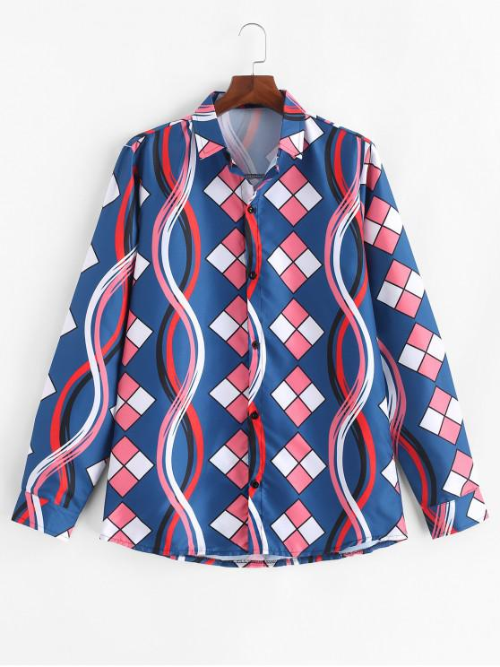 women's Long Sleeve Color Blocking Plaid Print Casual Shirt - PEACOCK BLUE 3XL