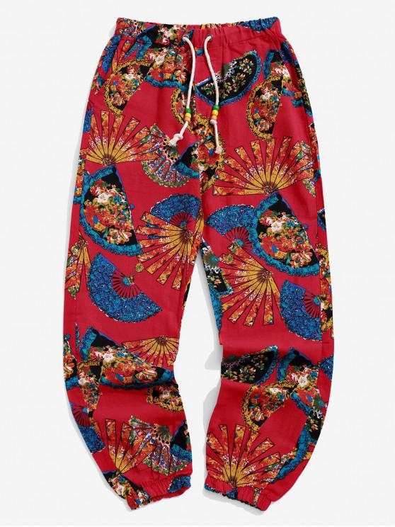 lady Tribal Floral Fan Print Casual Long Jogger Pants - LAVA RED S