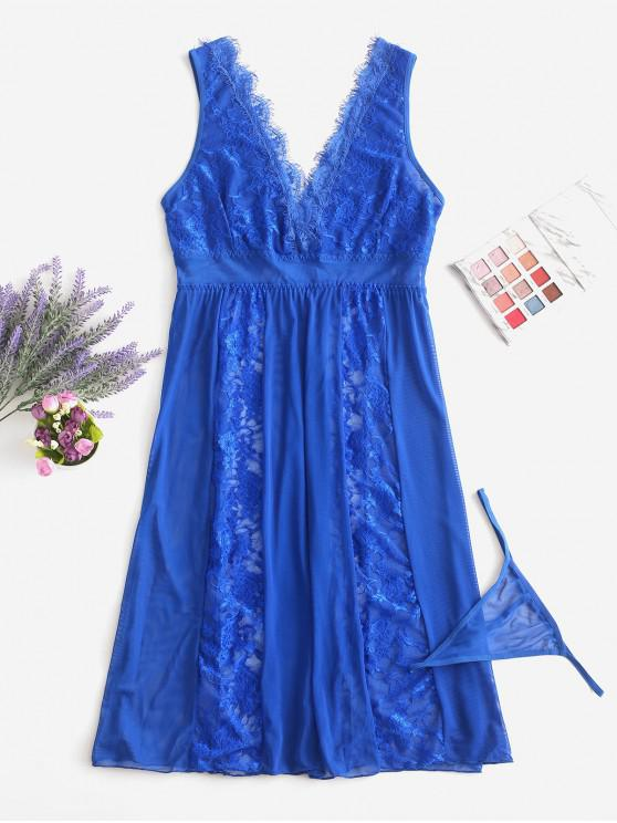 hot Lace and Mesh Sheer Nightdress - BLUEBERRY BLUE S