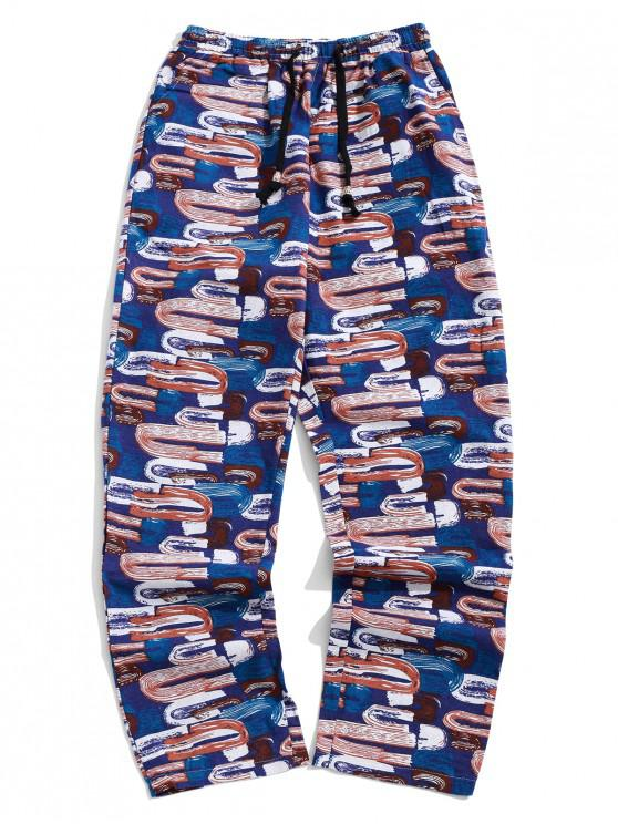fancy Long Graffiti Painting Print Tribal Casual Pants - DENIM DARK BLUE 2XL