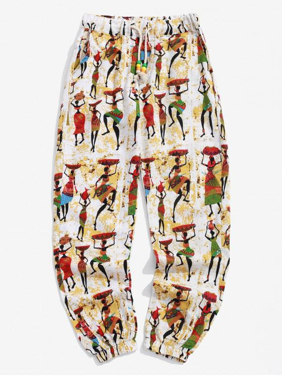 affordable Ethnic Tribal Women Print Long Jogger Pants - CORNSILK 2XL