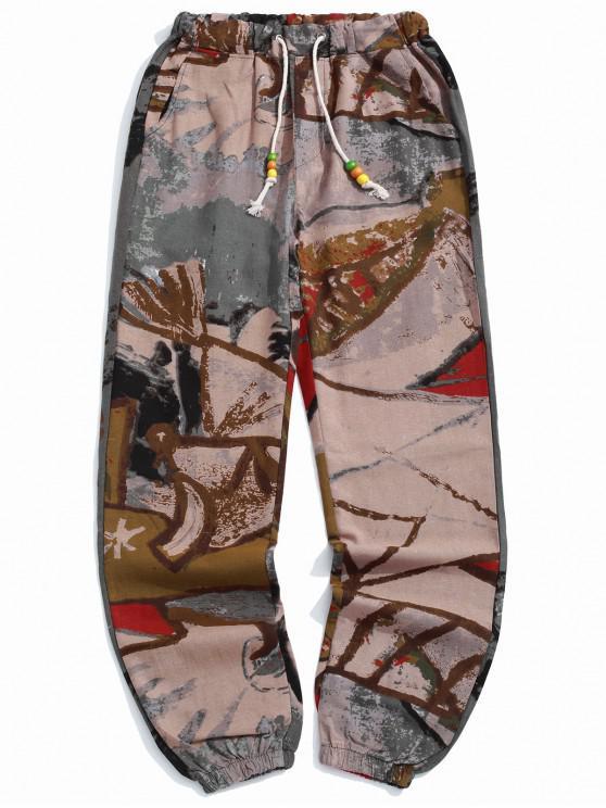 Pantalones jogger largos con estampado geométrico tribal de pintura - Multicolor-C L