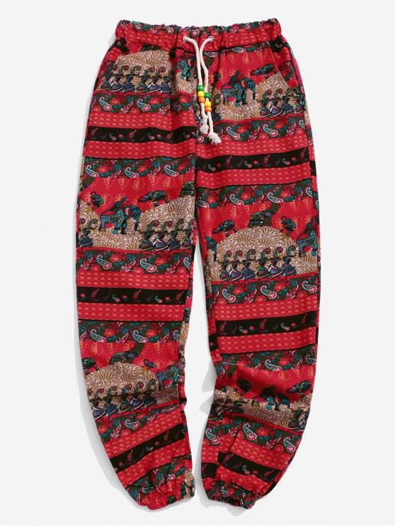 women's Ethnic Tribal Elaphant Floral Paisley Splicing Jogger Pants - LAVA RED XL