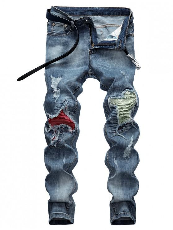 lady Pleated Patchwork Scratch Ripped Long Jeans - DENIM BLUE 36